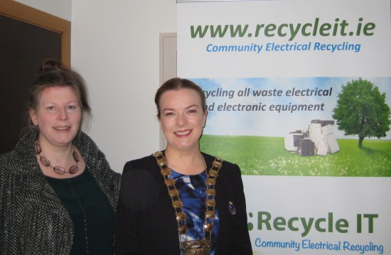 Una Lavelle Recycle IT and Councillor Sarah Holland