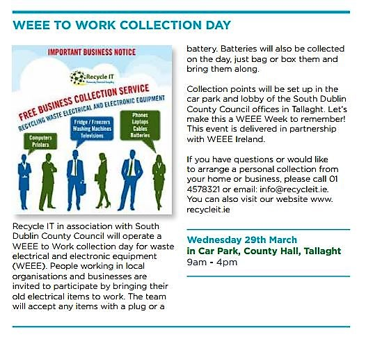 South Dublin Country Council - WEEE Collection Day March 2017 - Support by Recyc;le IT