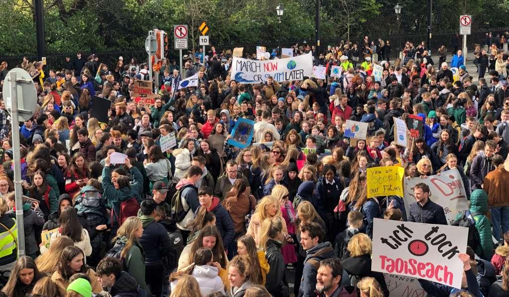 School climate strike, crowd scene, Dublin, 15 March 2019